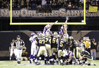 Garrett Hartley's game winning field goal against the Vikings in the 2009 NFC Championship Playoof Game