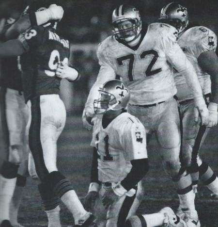 John Fourcade is sacked in the 1990 New Orleans Saints playoff game against the Bears
