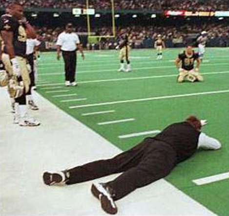 Mike Ditka lays out on the turf of the Superdome after the 1999 New Orleans Saints last second loss to Cleveland