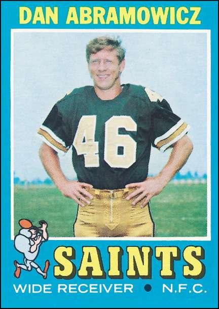 Danny Abramowicz NO Saints 1971 Topps Trading Card