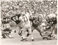 Tom Dempsey kicks a fieldgoal vs Loins 1970.