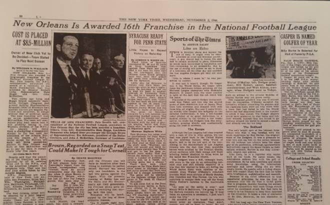 New York Times Saints Story November 1 1966