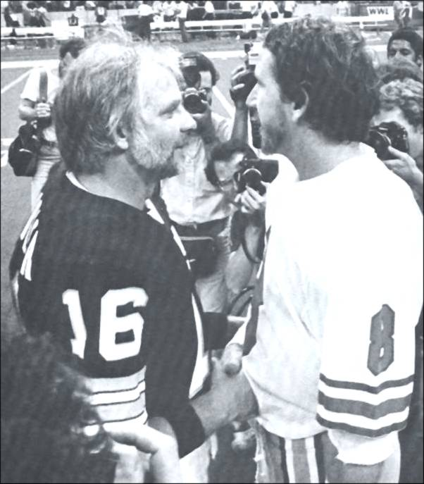 Archie Manning and Kenny Stabler Meet on the Field of the Super Dome in 1983