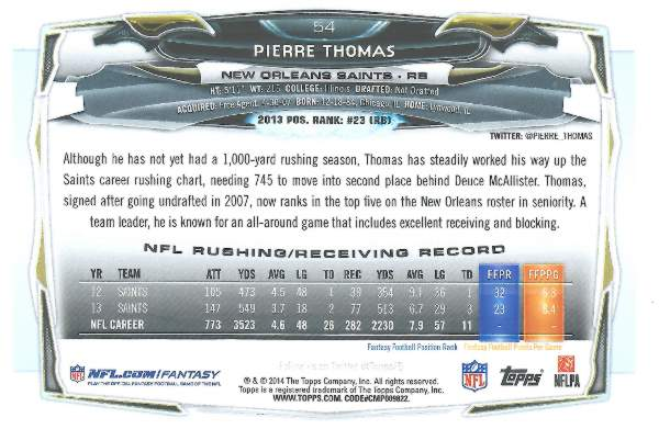 Back of Pierre Thomas 2014 Topps Card