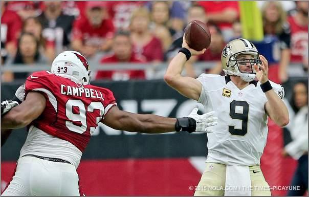 NO Saints Quarterback under pressure from Arizona defense - 2015 NFL Season