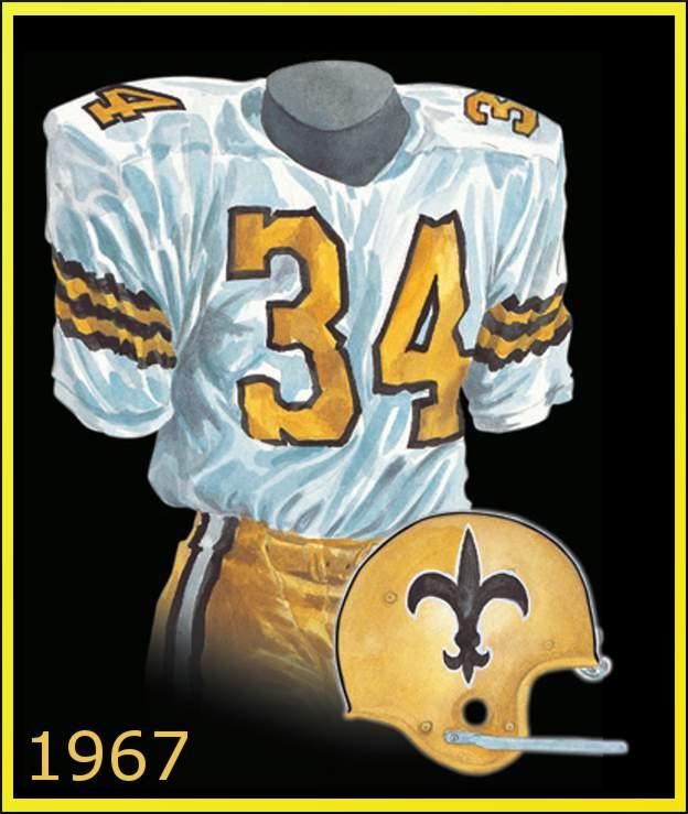 Watercolor Picture of 1967 New Orleans Saints uniform