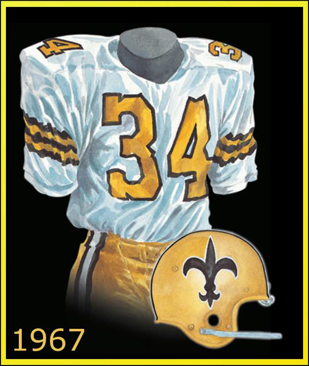 Watercolor Picture of 1967 New Orleans Saints uniform
