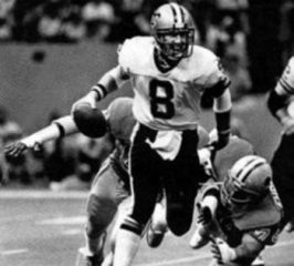 Archie Manning rushed by Detroit Lions Defense