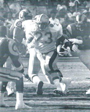 Saints running back Buford Jordan rambles to an 11-yard Score against the Rams in 1991.