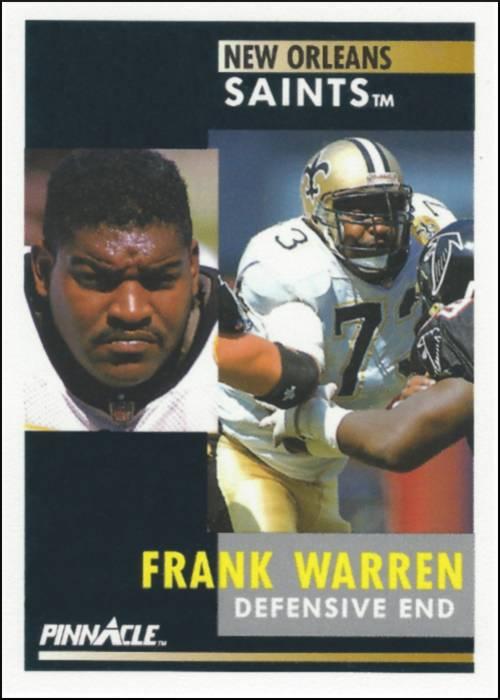 Frank Warren 1991 New Orleans Saints Pinnacle Card