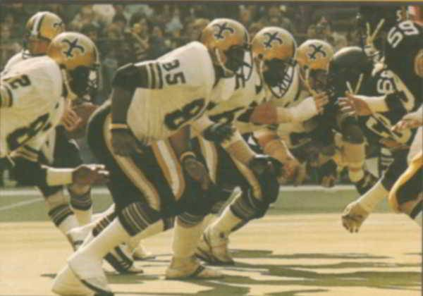 Close up view of New Orleans Saints Offensive in 1978
