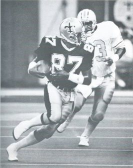 Saints rookie receiver Lonzell Hill in 1987 against Houston