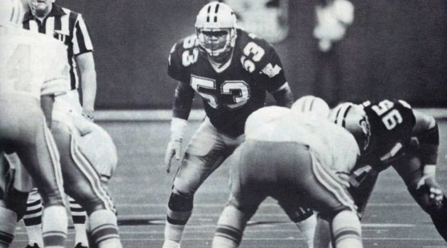 New Orleans Saints linebacker Vaughan Johnson in 1987 against the Oilers