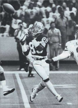New Orleans Saints Receiver Wes Chandler catches a pass against the Falcons in 1979.