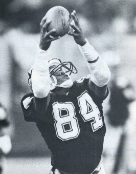 Saints receiver Eric Martin catches a pass in 1987