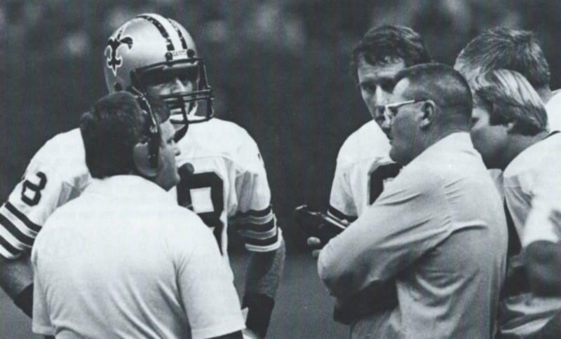 Bum Phillips with Saints quarterbacks Dave Wilson and Archie Manning   New Orleans Saints 1981