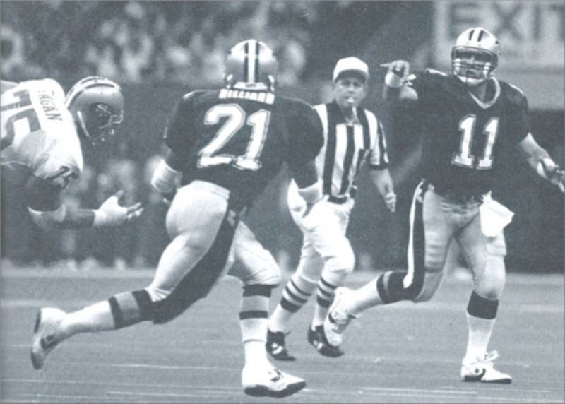 1990 New Orleans Saints- John Fourcade passes to Dalton Hillard