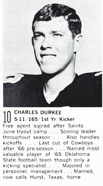 Rookie Saints Kicker Charlie Durkee in 1967