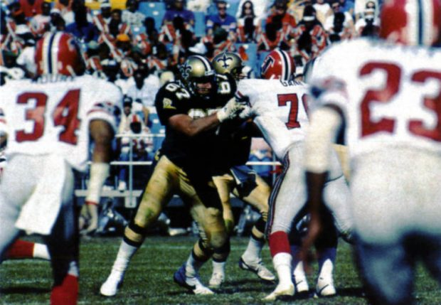 Stan Brock Blocking Against the Falcons in 1987 - Saints vs Falcons