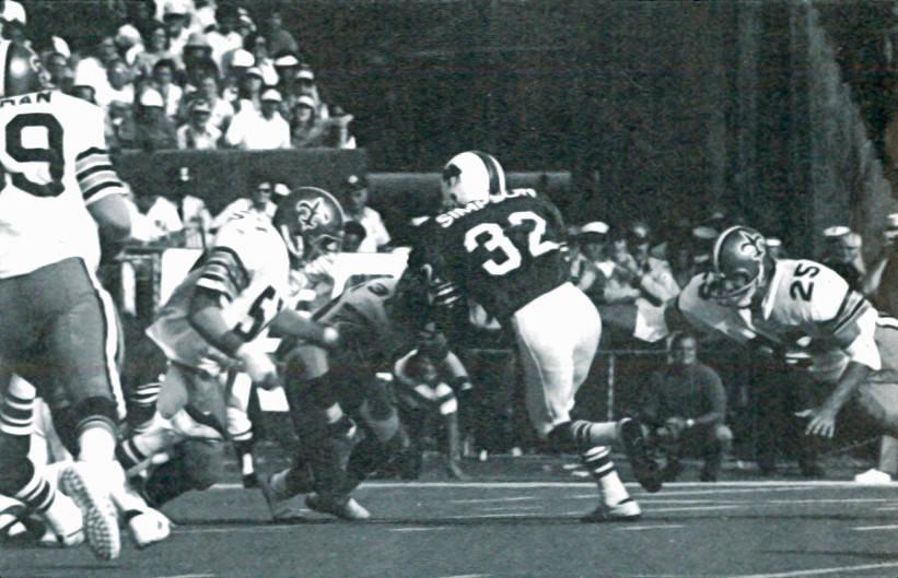 The Saints Defense of 1973 stops Bills Runner OJ Simpson