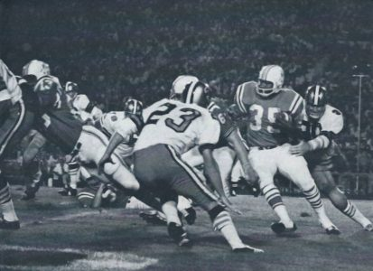 Les Kelly and Dave Whitsell Move in to Tackle Jim Nance of the Patriots in 1968 Preseason Action