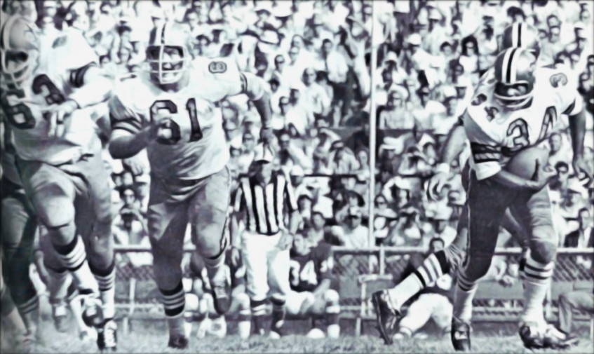 Roy Schmidt and Del Williams lead blocking for Fullback Tony Lorick | Saints Offense in 1968