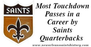 Most Touchdown Passes in a Career by New Orleans Saints Quarterbacks