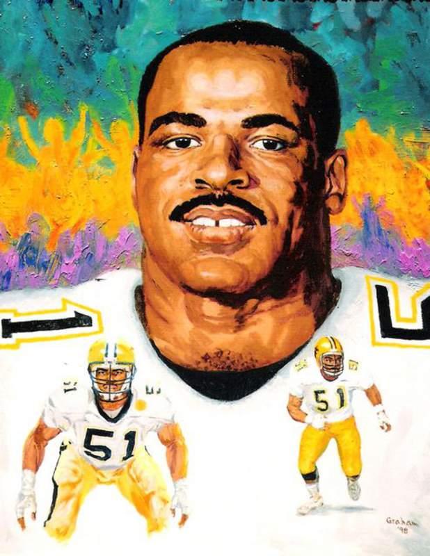 Portrait of Sam Mills by New Orleans artist Bob Graham