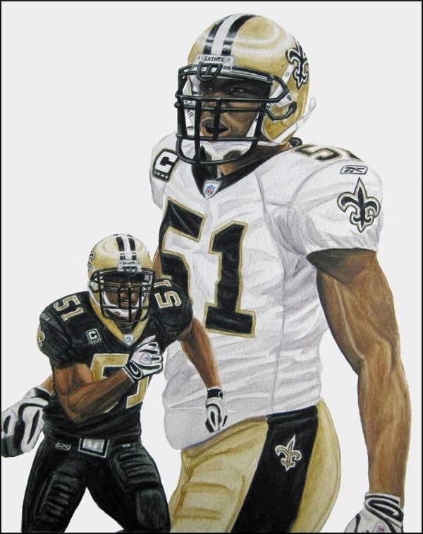 A Portrait of New Orleans Saints Linebacker Jonathan Vilma by Sports Artist Nick Keiser