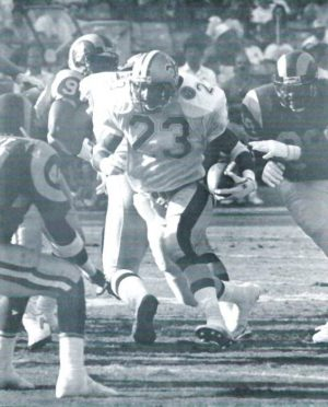 Saints running back Buford Jordan rambles to an 11-yard Score against the Rams in 1991.