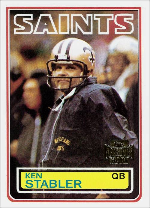 Kenny Stabler 1983 NO Saints Topps Card