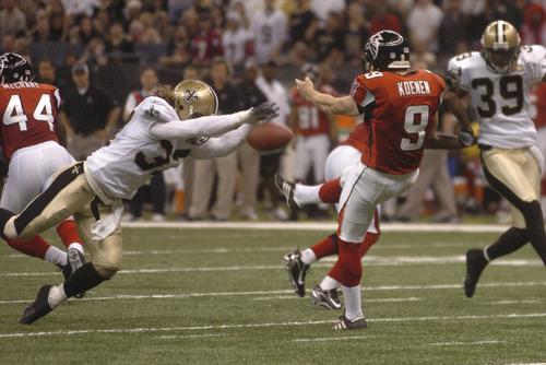 Steve Gleason's blocks the Falcons Punt on Monday Night Football