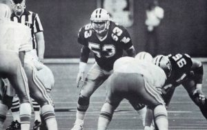 New Orleans Saints linebacker Vaughan Johnson in 1987 against the Oilers