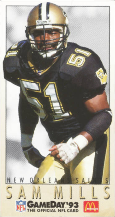 1993 McDonald's GameDay NFL for Sam Mills of the New Orleans Saints