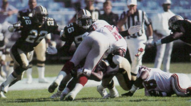 New Orleans Saints Defense Stops Falcons Runner Gerald Riggs