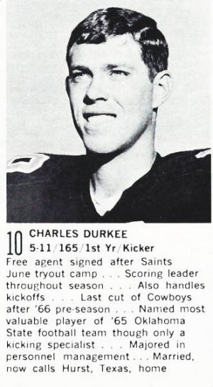 Rookie Saints Kicker Charlie Durkee in 1967