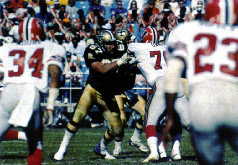 Stan Brock Blocking Against the Falcons in 1987 | Saints vs Falcons