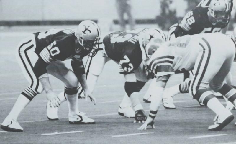 Ken Bordeleon lines up opposite Keith Krepfle during the Saints - Eagles of 1979