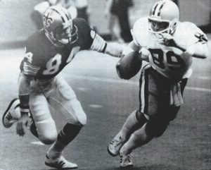 New Orleans Special Teams Ace Rich Mauti making a tackle in 1978 against the Browns