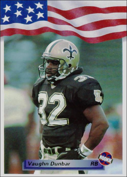Vaughn Dunbar 1992 New Orleans Saints All World Football Card