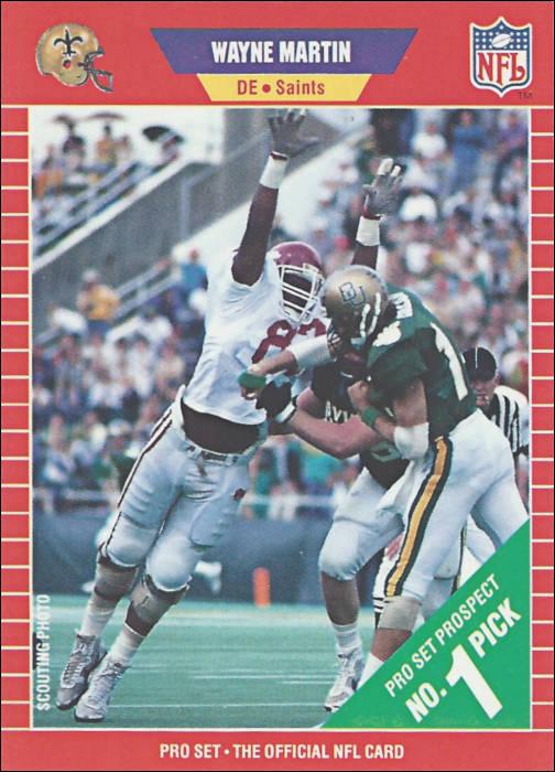 Wayne Martin 1989 New Orleans Saints Pro Set Rookie Football Card