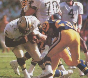 New Orleans Saints Fullback Craig Heyward takes on a Ram defender
