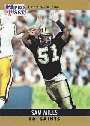 Sam Mills 1990 New Orleans Saints Pro Set Football Card