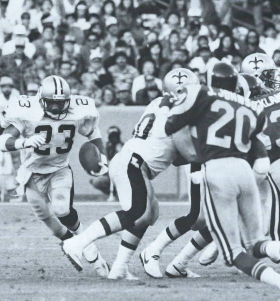 New Orleans Saints Fullback Buford Jordan gets the call against Los Angeles in 1988