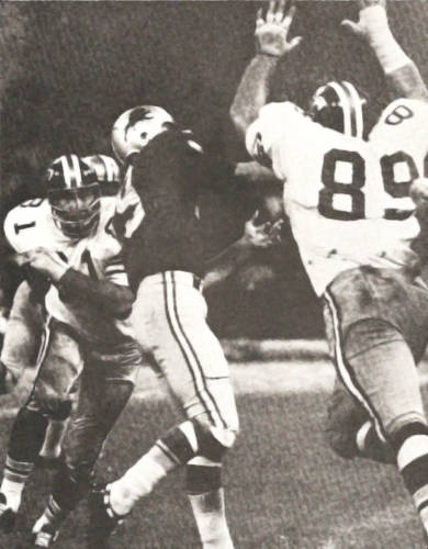 1969 New Orleans Saints defenders Doug Atkins and Dave Long in 1969 Saints Black helmets