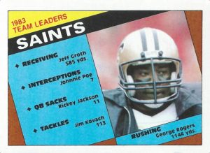 1983 New Orleans Saints Team Leaders   1984 Topps Football Card
