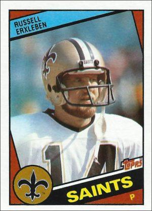 Russell Erxleben 1984 New Orleans Saints Topps Football Card