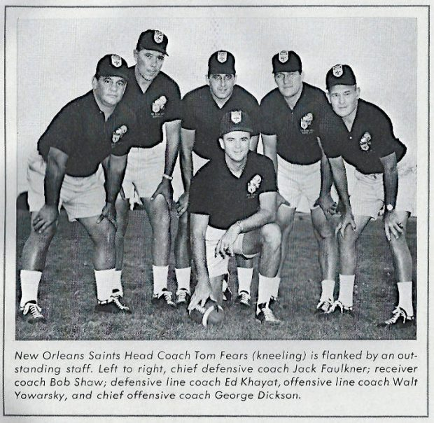 Saints Head Coach Tom Fears with his coaching staff in 1967