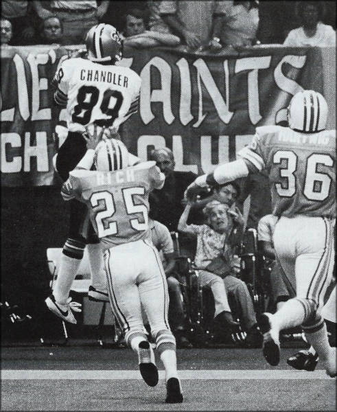 New Orleans Saints receiver Wes Chandler in 1981 action versus the Oilers