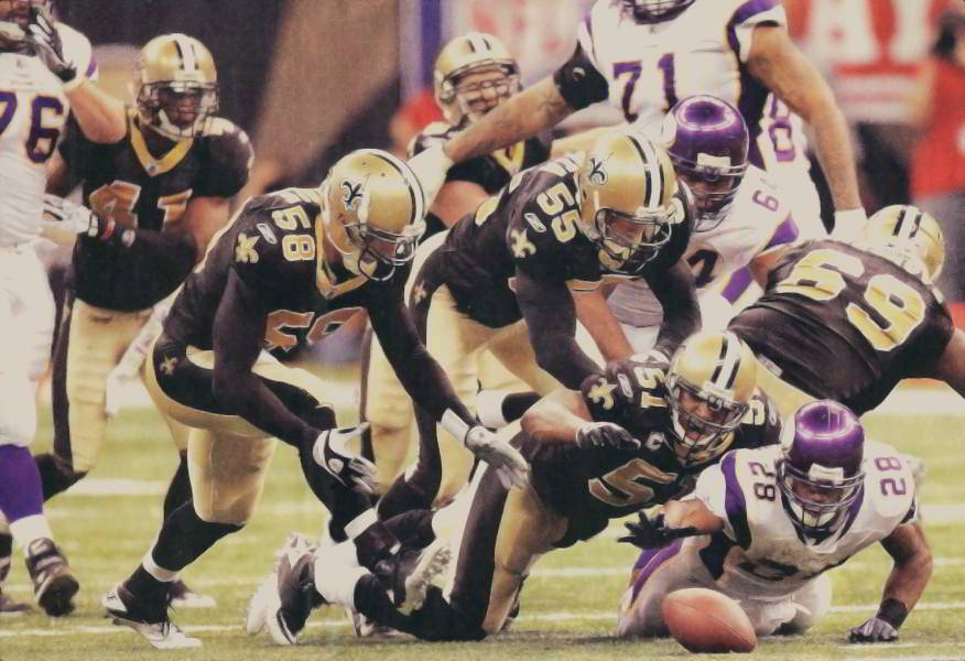 The Saints Defense Recovers a Fumble Against the Vikings in the 2009 NFC Championship Game